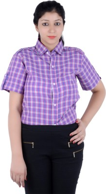 S9 Women's Checkered Casual Pink, Purple, White Shirt