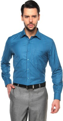 British Club Men's Striped Formal Blue Shirt