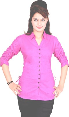 Jazzy Ben Women,s Solid Casual Purple Shirt