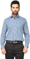 Dc Washington Formal Shirts (Men's) - DC Washington Men's Checkered Formal Blue, White Shirt