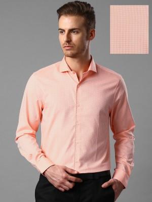 Invictus Men's Self Design Formal Orange Shirt