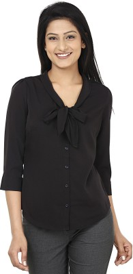 Wills Lifestyle Women's Solid Casual Black Shirt