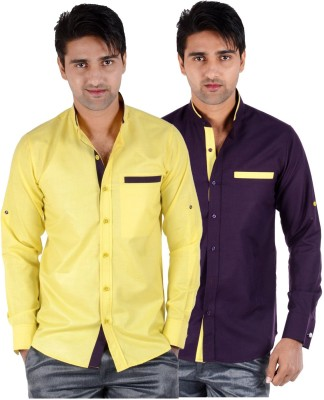 S9 Men's Solid Formal, Festive, Party Yellow, Purple Shirt