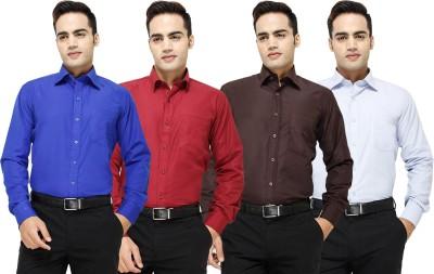 Yuva Men's Solid Formal Blue, Maroon, Brown, Light Blue Shirt