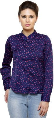 Thousand Shades Women,s Printed Casual Blue Shirt