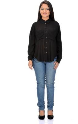 Instinct Women's Solid Casual, Festive Black Shirt
