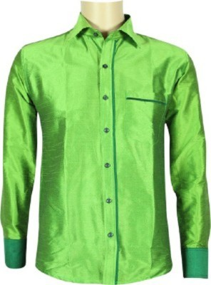KENRICH Men's Solid Formal Green Shirt