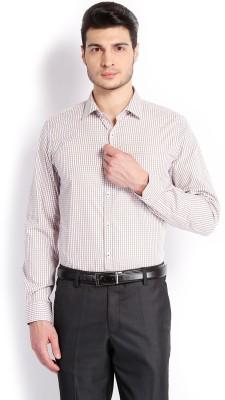 Mark Taylor Men's Checkered Formal White Shirt