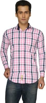 2 Dudes Men's Checkered Casual Pink Shirt