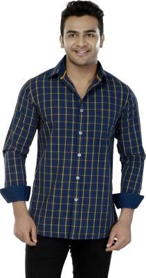 Jazzup Men's Checkered Casual Blue Shirt