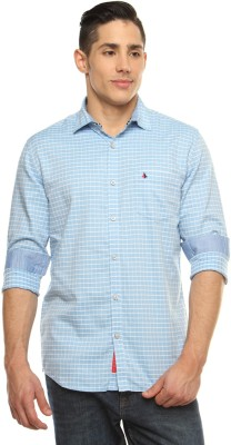 British Club Men's Checkered Casual Blue, White Shirt