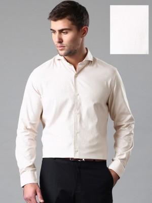 Invictus Men's Self Design Formal Beige Shirt