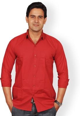 Mc-John Men's Solid Formal Maroon Shirt