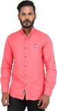 Piazza Italya Men's Solid Casual Pink Sh...