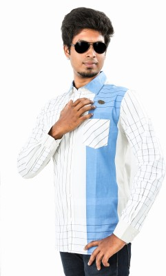 Argyle Men's Checkered Casual White, Blue Shirt