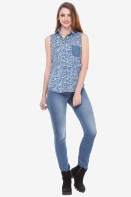 Varanga Women's Printed Party Blue Shirt