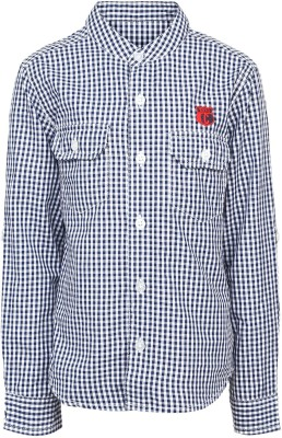 Silver Streak Boy's Checkered Casual Dark Blue Shirt