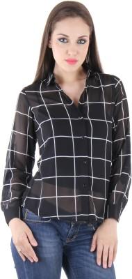 BONHEUR Women's Checkered Casual Black, Black Shirt