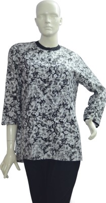 Jupi Women's Floral Print Casual Black, White Shirt
