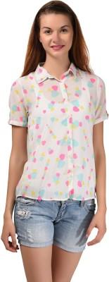 LA ATTIRE Women's Printed Casual White Shirt