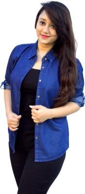 Aarti Collections Women's Solid Casual Denim Dark Blue Shirt