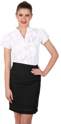 Eyelet Women's Solid Casual White Shirt