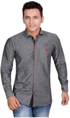 Anry Men's Solid Casual Black Shirt
