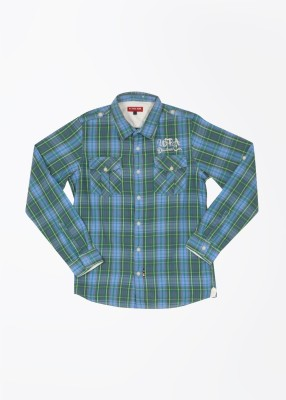 U.S. Polo Assn. Boy's Checkered Casual Blue, Green Shirt