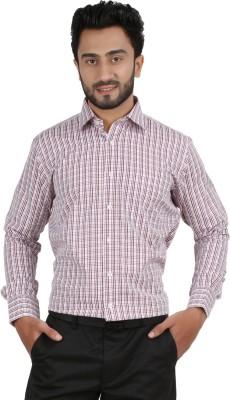 Hippoolife Men's Checkered Formal Maroon Shirt