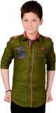 Anry Boys Solid Casual Green Shirt