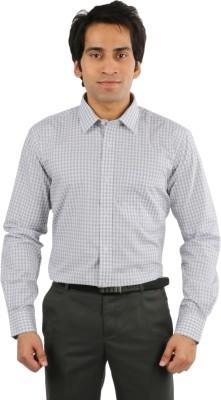 Desar Rana Men's Checkered Formal Grey, White Shirt