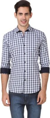 Smithsoul Men's Checkered Casual Grey, Dark Blue Shirt