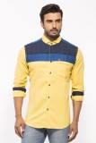 Royalion Men's Printed Casual Yellow Shi...