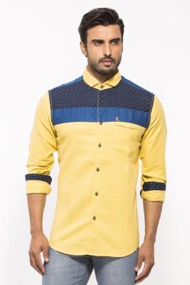 ROYALION Men's Printed Casual Yellow Shirt
