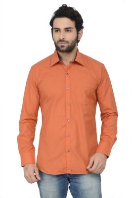 Swathe Men's Solid Casual Orange Shirt