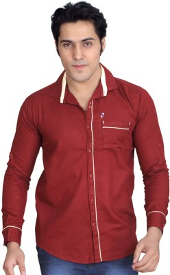Private Image Men's Solid Casual, Party Maroon Shirt