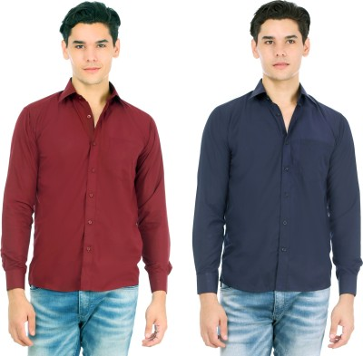 Atmosphere Men's Solid Casual Maroon, Blue Shirt