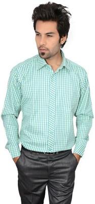 Culture Plus Men's Checkered Formal Green, Blue Shirt