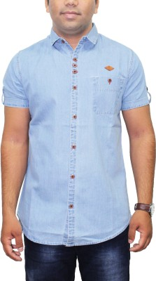 Kuons Avenue Men's Solid Formal Denim Blue, Light Blue Shirt