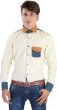Saraul Men's Solid Casual Beige Shirt