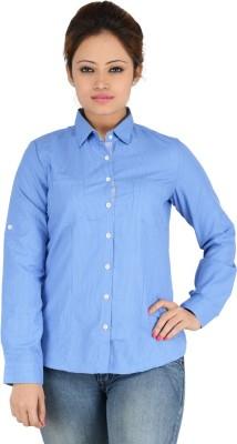 Elle Et Lui Women's Checkered Formal Blue Shirt