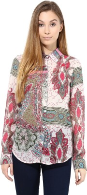 TheGudLook Women,s Printed Casual Pink Shirt