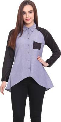 Blink Women's Solid Casual Blue Shirt