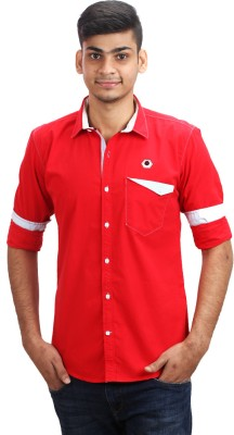 Fashion Bean Men's Solid Casual Red Shirt