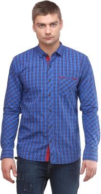 Sleek Line Men's Checkered Casual Blue Shirt