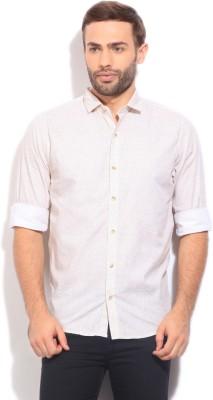 Peter England Mens Printed Casual Beige Shirt