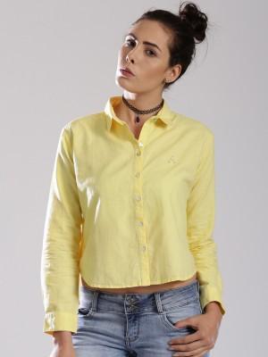 HRX by Hrithik Roshan Women's Checkered Casual Yellow Shirt