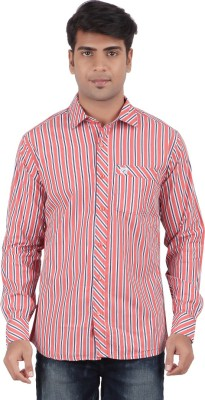 Anytime Men's Striped Casual Red Shirt