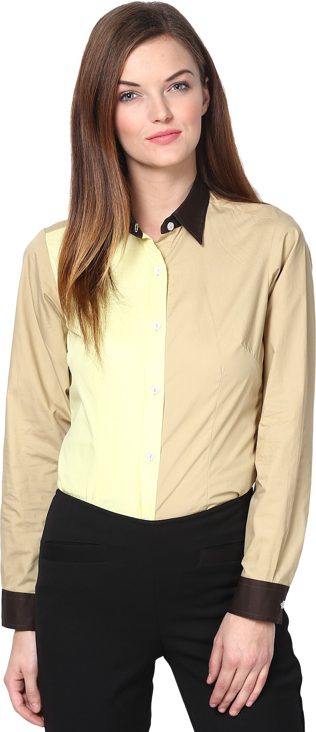 Dazzio Womens Solid Formal Yellow, Beige Shirt