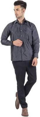 Warrior Men's Self Design Casual Black Shirt